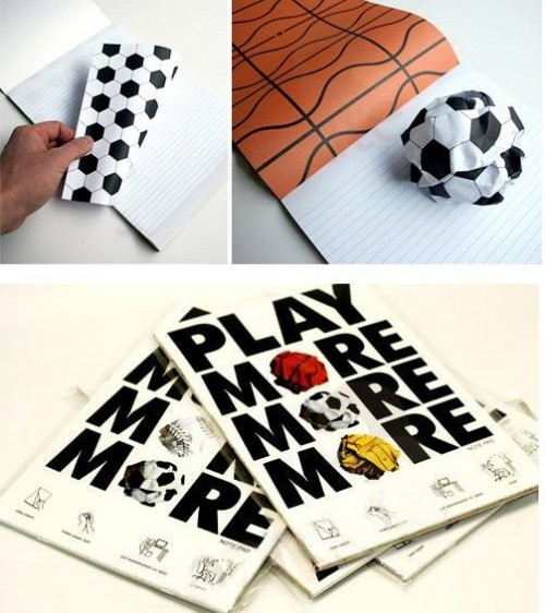regalos originales libretas originales con forma de pelota more play notebook