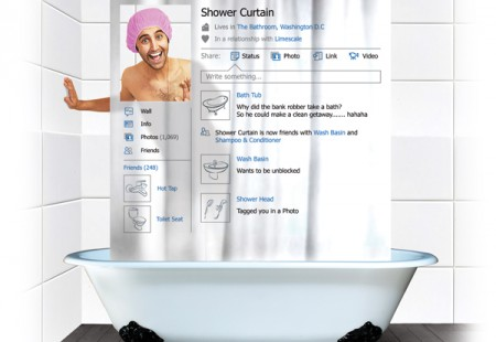 "Cortina para la Ducha de Facebook ""Social Shower Curtain"""